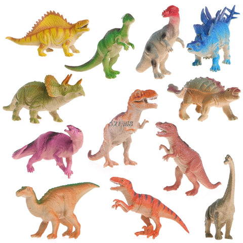15-18cm Colorful Plastic Dinosaurs, 12pcs. - Loverly's Toys