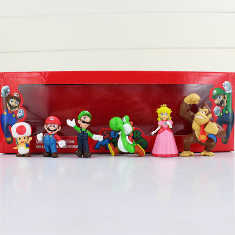 6-piece Super Mario Mini Action Figures, Includes: Luigi, Mario, Yoshi, Princess Peach, and Toad in Festive Red Box - Loverly's Toys