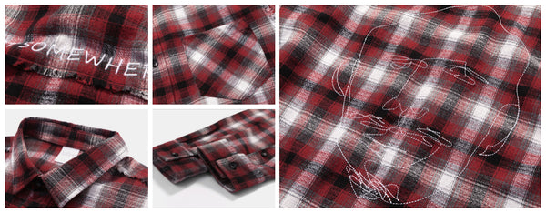 Detail show for Red Embroidered Plaid Shirt