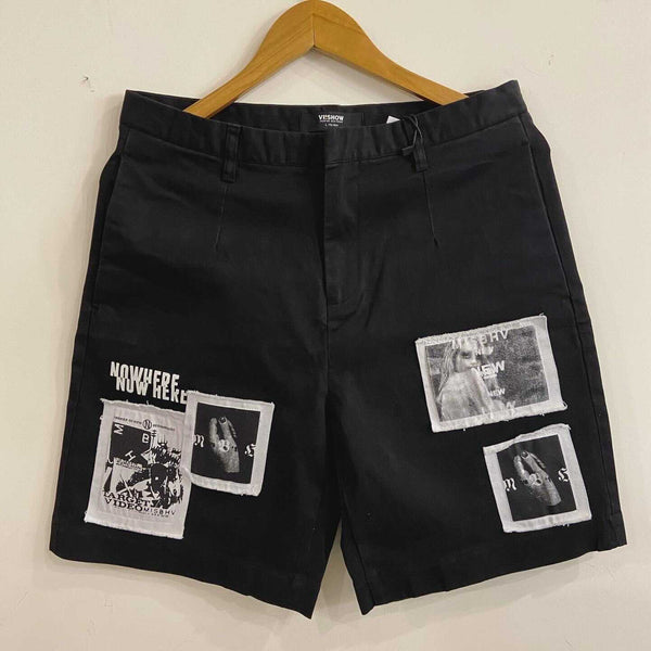 Vintage Black Shorts with patchwork