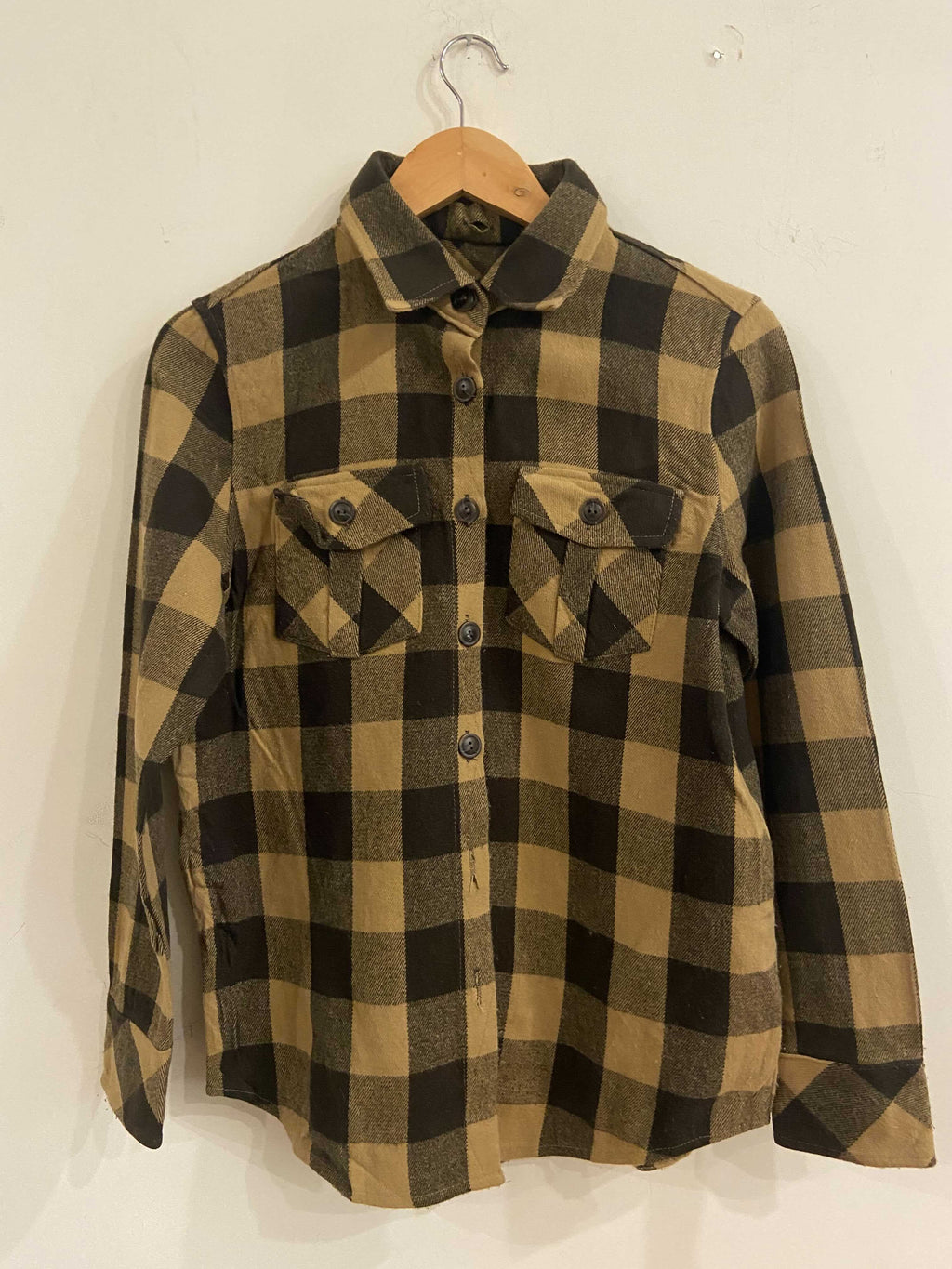 Beige and Brown Flannel Shirt