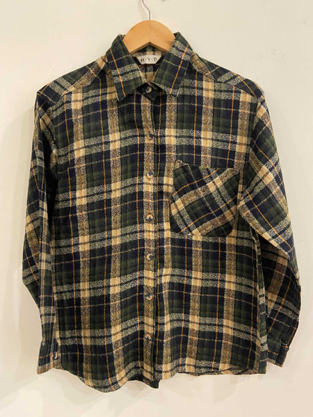 H.Y.D. Green and White Flannel Shirt