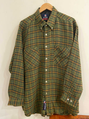 Karl Kani Green and Mustard Flannel Shirt