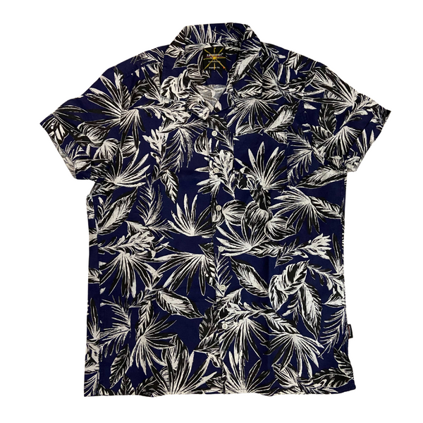 Blue and White Superdry Short Sleeve Hawaiian Shirt