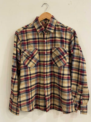 Un Coil Beige and Red Flannel Shirt