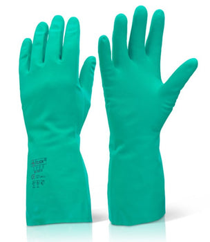 Green Nitrile Flock Lined Chemical Gloves - Pair