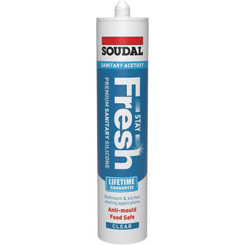 Soudal Stay Fresh ACETOXY - Premium Anti-Mould Sanitary Silicone