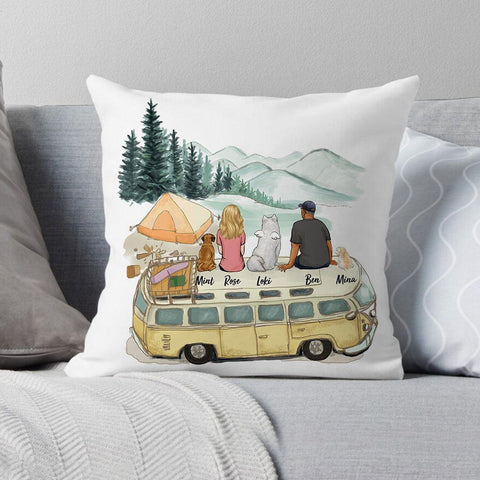 2. Throw Pillow for the Dog Dad who loves camping