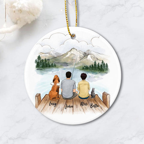 Personalized Fishing Family with Dog Cat Christmas Ornament