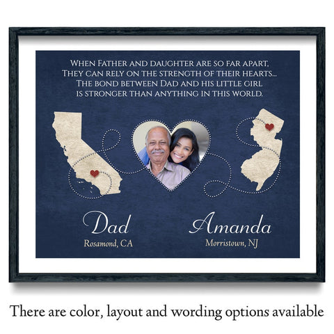 Long Distance Father and Daughter Wall Art