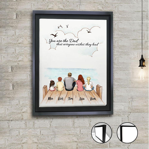 2. Family Framed Canvas with Custom Message