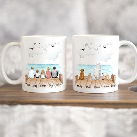 3. Personalized Family and Dog Cat Coffee Mug