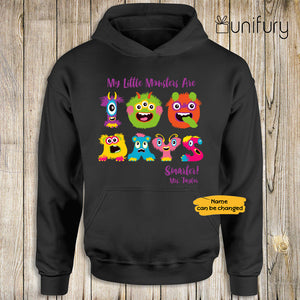 Personalized happy 100 days of school hoodie ideas for students teachers - My little monsters are 100 days smarter