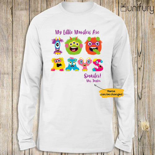 Personalized happy 100 days of school long sleeve ideas for students teachers - My little monsters are 100 days smarter