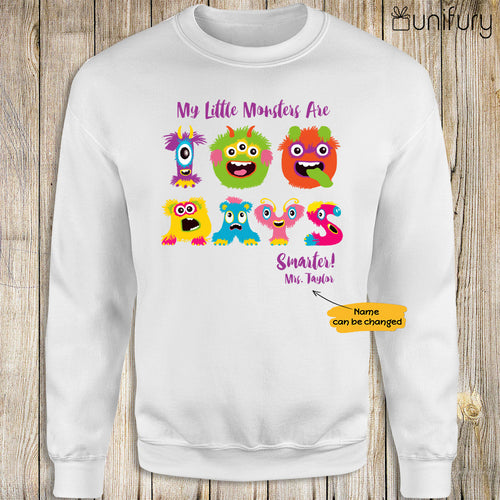 Personalized happy 100 days of school sweatshirt ideas for students teachers - My little monsters are 100 days smarter