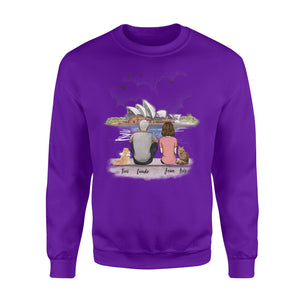 Personalized custom cat & couple sweatshirt gift for cat mom dad lover owner Opera house - 2423