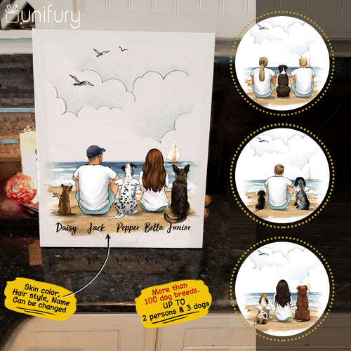 Personalized gifts for dog lovers Canvas Print Wall Art - DOG & COUPLE - Beach - 2365