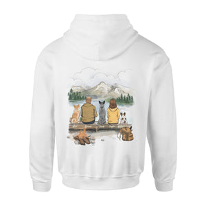 [ BACK SIDE ] Personalized custom dog & couple hoodie gift for dog mom dad lover owner - Hiking - Mountain - 2415