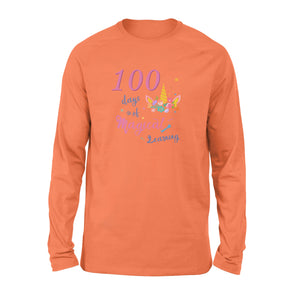 [Man Woman] Happy 100 days of school long sleeve ideas for kid kindergarten students - 100 days of magical learning
