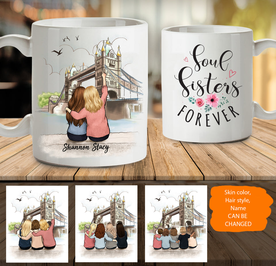 Personalized custom female best friend bestie sister birthday gift ideas coffee mug London - 2332