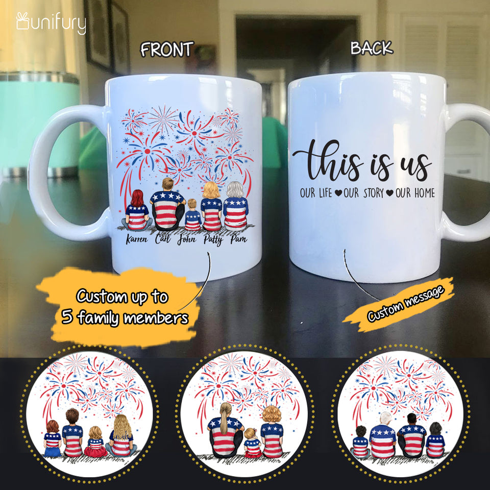 Personalized gifts for the whole family 4th Of July Coffee Mug - UP TO 5 PEOPLE - CUSTOM MESSAGE - 2426