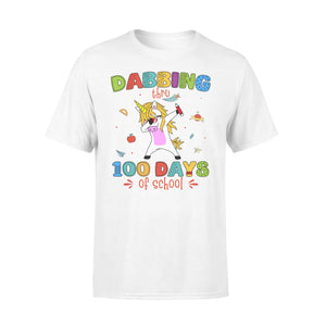 [MAN WOMAN] Happy 100 days of school premium t-shirt ideas for kid kindergarten students - Dabbing thru 100 days of school