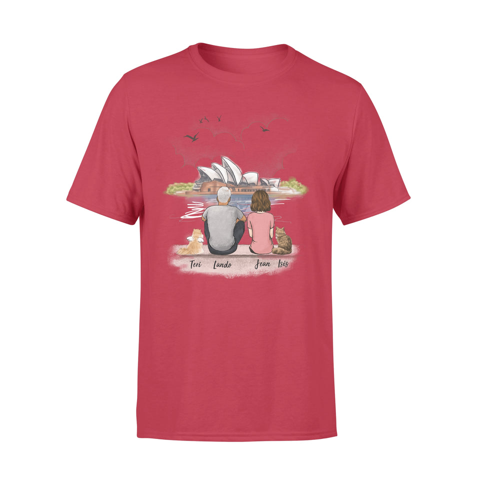 Personalized custom cat & couple t-shirt tee Opera house - 2423