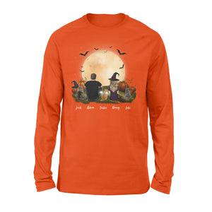 [ FRONT SIDE ] [ ORANGE PURPLE ] Personalized custom cat & couple long sleeve Halloween gift for cat mom dad lover owner - 2402