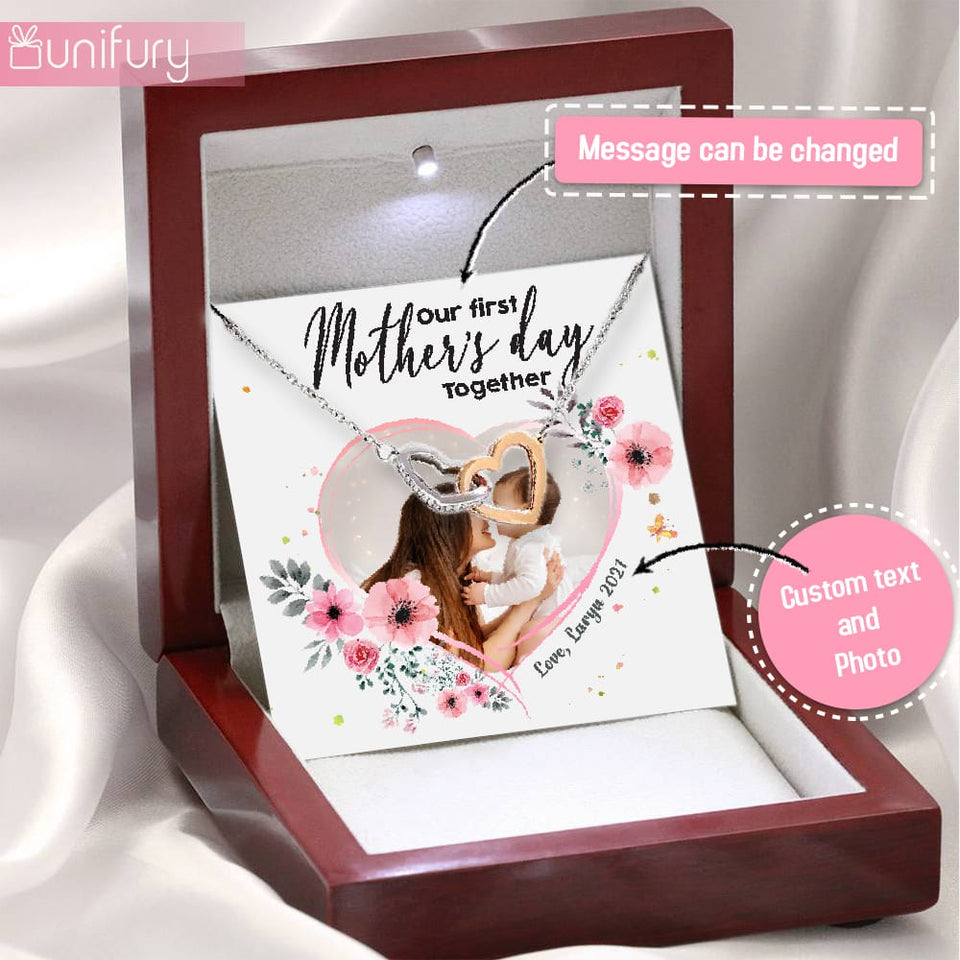 Personalized gifts for Mom Interlocking Hearts Necklace with message card - Custom photo