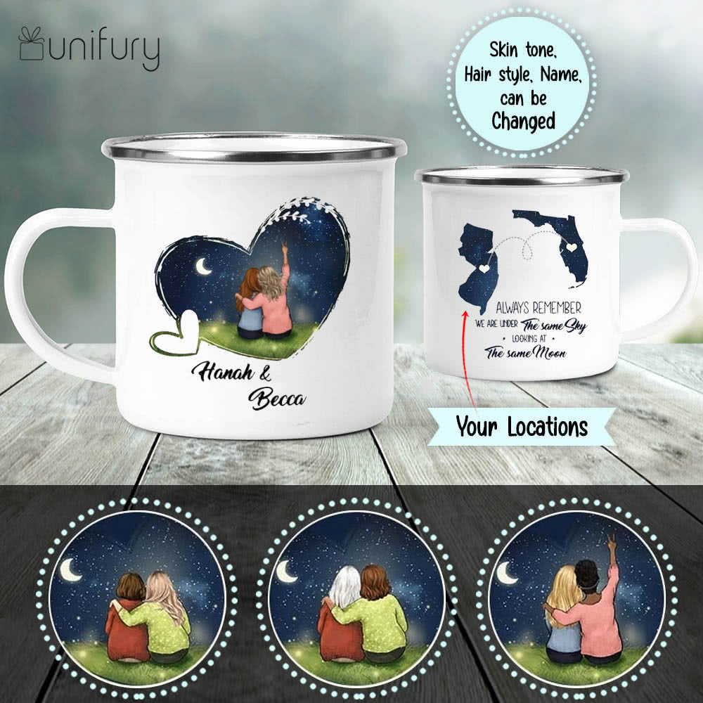 Personalized long distance relationship campfire mug gifts for best friends - Night Sky