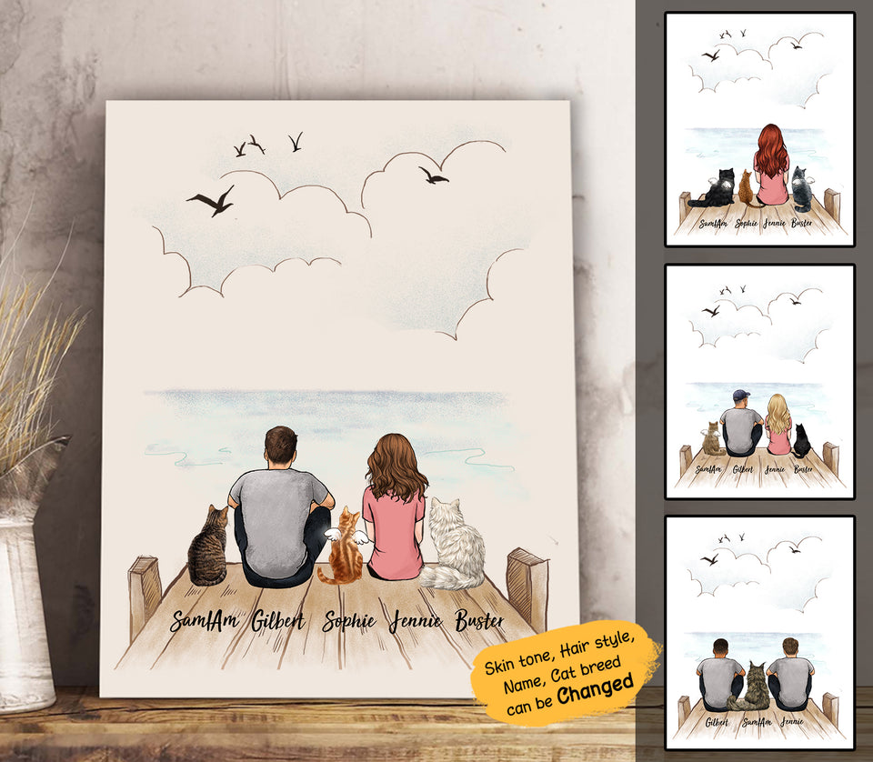 Personalized custom cat & couple canvas print canvas art gift for cat mom dad lover owner - Wooden Dock - 2408