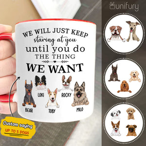 Personalized dog Accent mug with custom funny sayings Every snack you make
