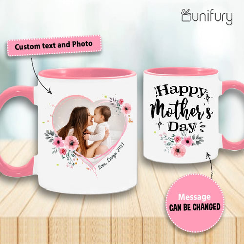 Personalized Mother's day accent mug gifts for mom - Custom photo