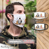 Personalized custom dog & couple washable fabric cloth face mask for dog mom dad lover owner - Wooden Dock - 2269