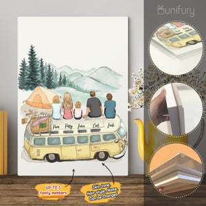 Personalized family members metal print gift for the whole family - UP TO 5 PEOPLE - Camping - 2426