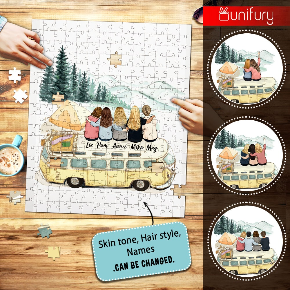 Personalized puzzle best friend gifts - Camping