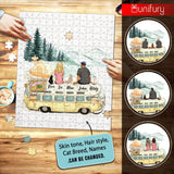 Personalized puzzle cat & couple gifts for cat lovers - Camping
