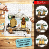 Personalized puzzle cat & couple gifts for cat lovers - Hiking - Mountain
