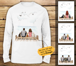 Personalized custom cat & couple long sleeve - Wooden Dock - 2408