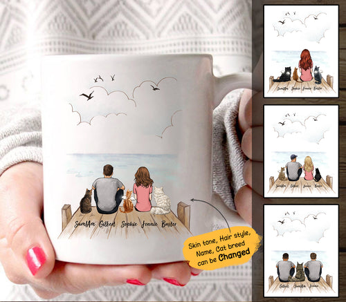 Personalized custom cat & couple coffee mug gift for cat mom dad lover owner - Wooden Dock - 2408