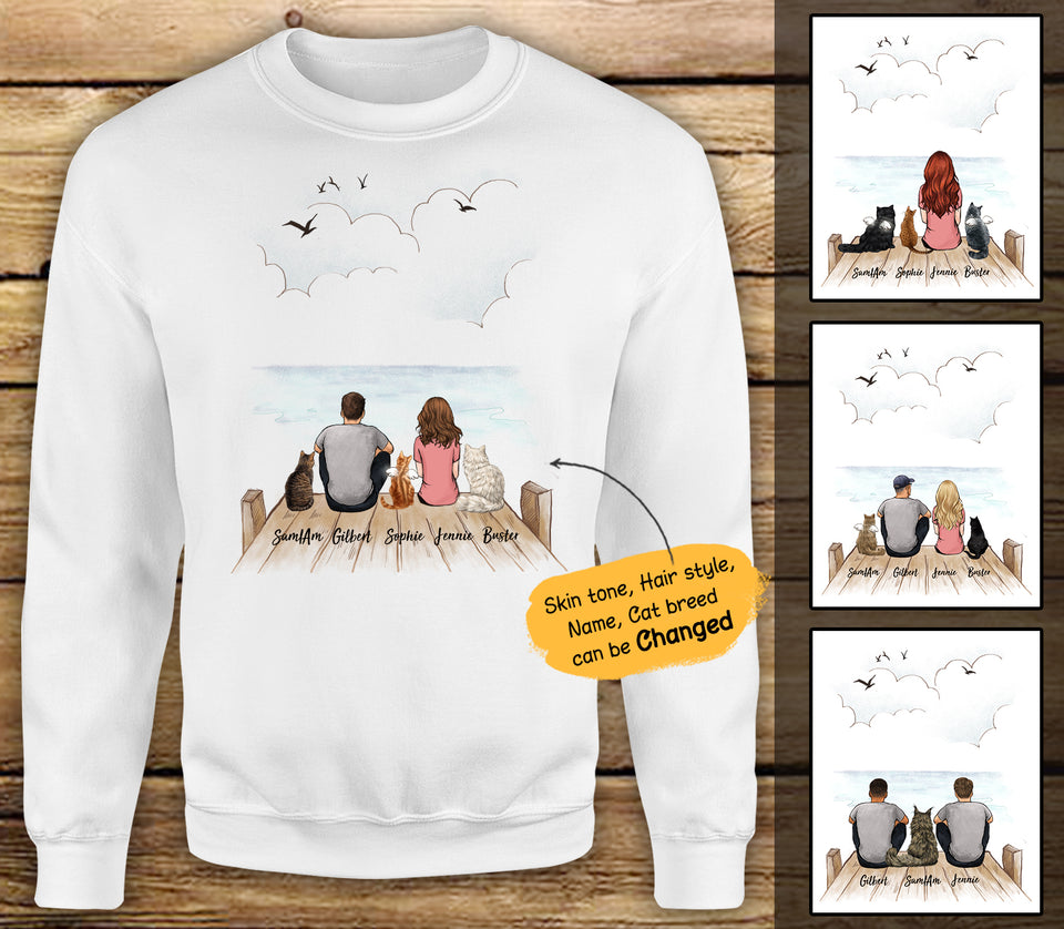 Personalized custom cat & couple sweatshirt gift for cat mom dad lover owner - Wooden Dock - 2408