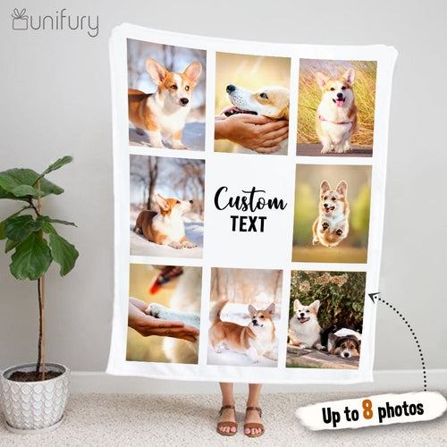 Personalized custom photo Fleece Blanket with custom message - UP TO 8 PHOTOS