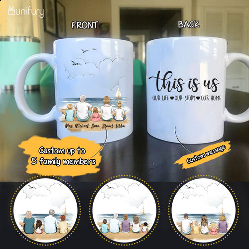 Personalized family members coffee mug gift for the whole family - UP TO 5 PEOPLE - CUSTOM MESSAGE - Beach - 2426