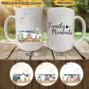 Personalized gifts for the whole family Coffee Mug - UP TO 5 PEOPLE - CUSTOM MESSAGE - Beach - 2426