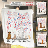 Personalized dog & cat Fleece Blanket 4th Of July - 2283