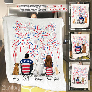 Personalized custom dog & couple Fleece Blanket 4th Of July gift for dog mom dad lover owner - 2340