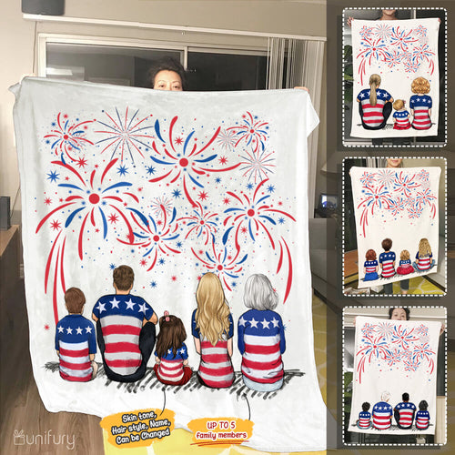Personalized gifts for the whole family Fleece Blanket 4th Of July - UP TO 5 PEOPLE - 2426