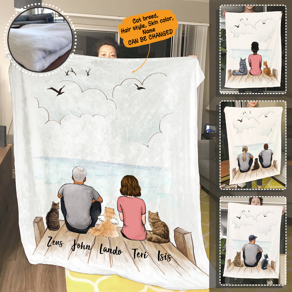 Personalized custom cat & couple fleece blanket gift for cat mom dad lover owner - Wooden Dock - 2408