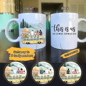 Personalized gifts for the whole family Coffee Mug - UP TO 5 PEOPLE - CUSTOM MESSAGE - Camping - 2426