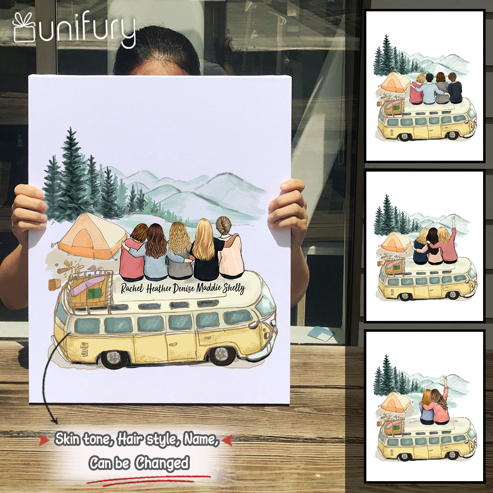 Personalized custom female best friend Canvas Print bestie sister birthday gift ideas - Camping - 2272